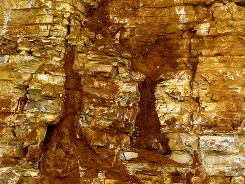 Solnhofen Steinbruch mit Erdeinschwemmung