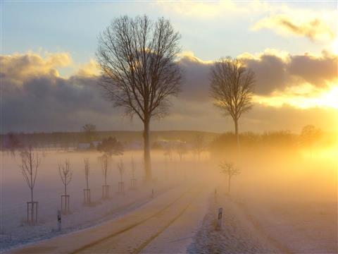 Sonnengeflutetes Winterland bei Herrieden