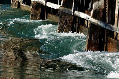 Die Aare in Thun am See