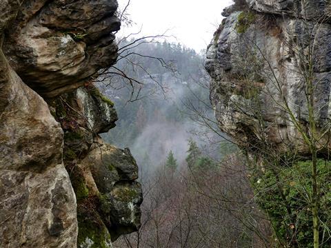 Elbsandsteingebirge Hohnstein Durchblick