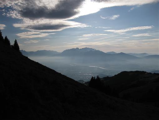 Blick auf Säntis und Rheintal