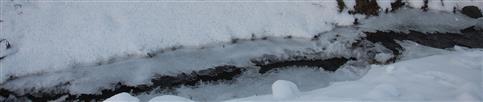 Zufrierender Schwarzbach in der Nähe des evangelischen Kindergartens Eiershausen