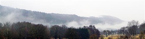 Nebelschwaden im Dietzhölztal östlich des Lohmühlenweihers